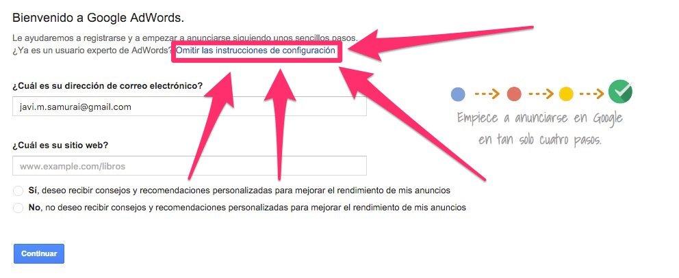 Pasos para crear una cuenta de Google Adwords sin datos económicos