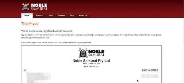 Confirmación de pago de licencia de Market Samurai
