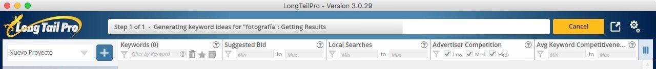Generando palabras clave en Long Tail Pro