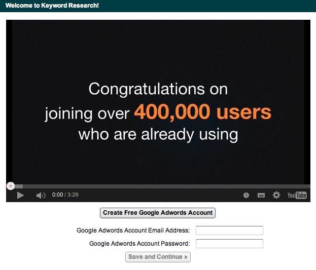 Añadir cuenta de Google Adwords en Market Samurai