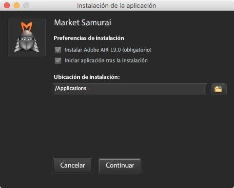 Preferencias de instalación en Market Samurai