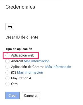 Aplicación Web Google Client ID