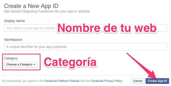 Nombre y categoría de tu App de Facebook
