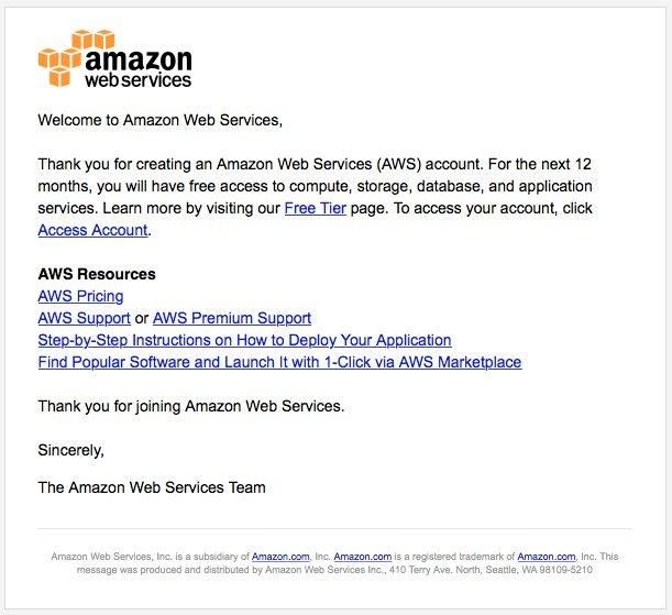 Email Bienvenida Amazon Web Services