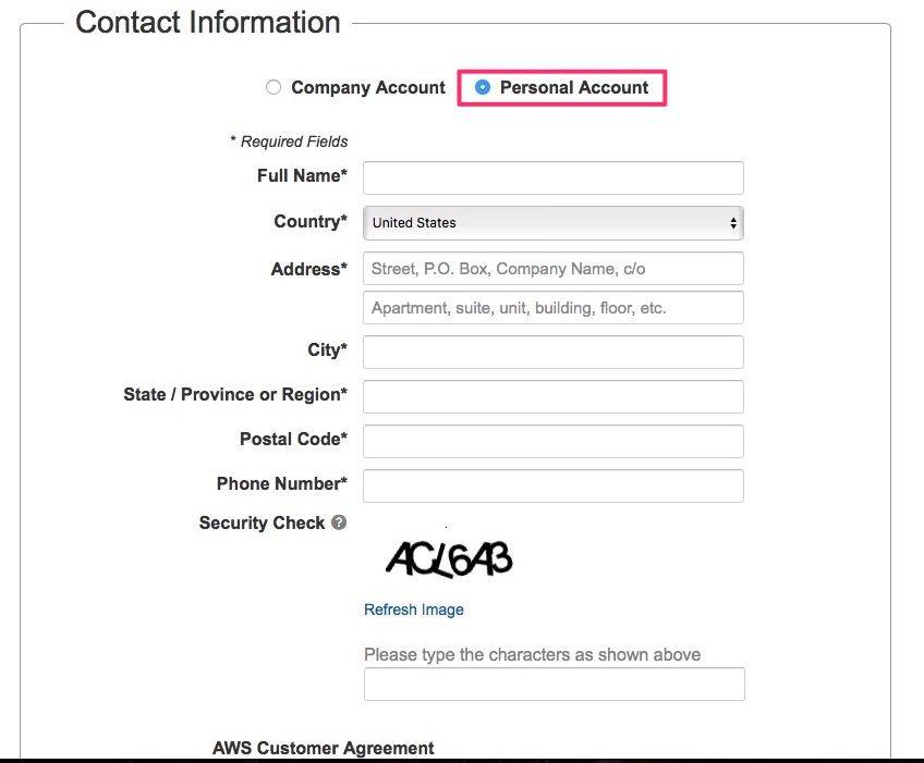 Crear cuenta en Amazon Web Services paso 2