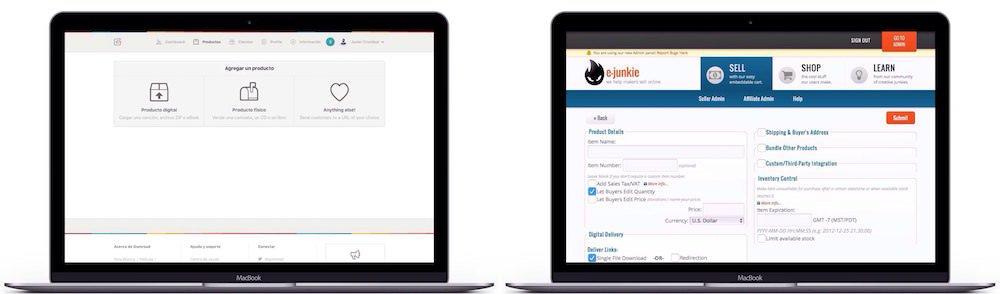 Gumroad VS Ejunkie, comparativa al añadir un nuevo producto