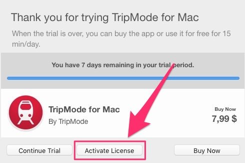 Como activar la licencia de TripMode
