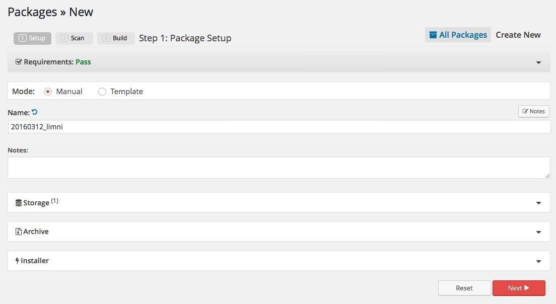 Nuevo paquete en Duplicator