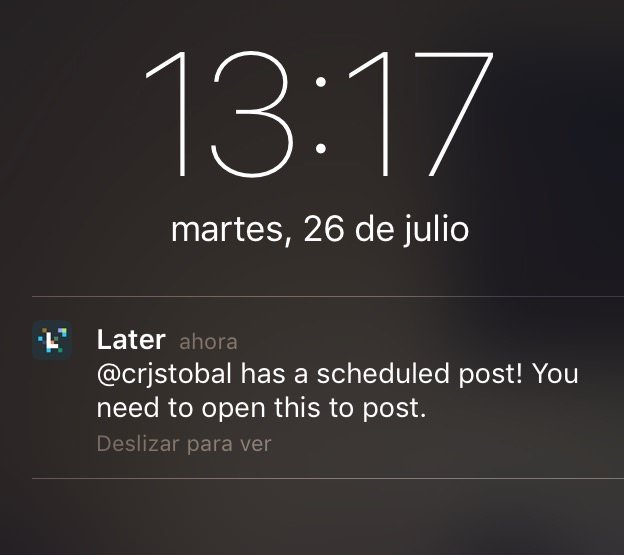 Notificación de Later en Smartphone