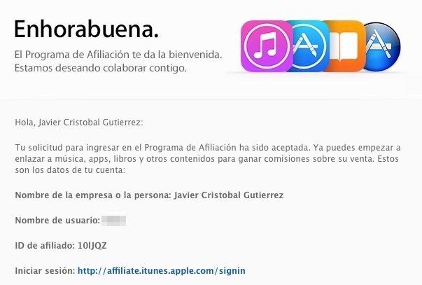 Email de bienvenida al programa de afiliación de iTunes