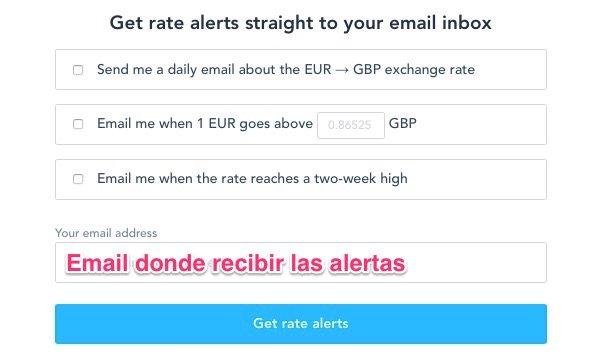 Alertas de tipo de cambio en TransferWise Rate Tracker