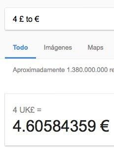 Calcular el tipo de cambio con Google usando símbolos