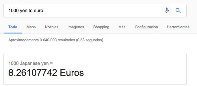 Calcular el tipo de cambio con Google