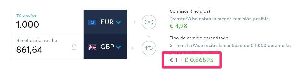 Tipo o tasa de cambio de TransferWise