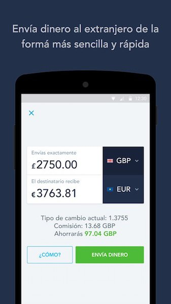 TransferWise en móvil Android
