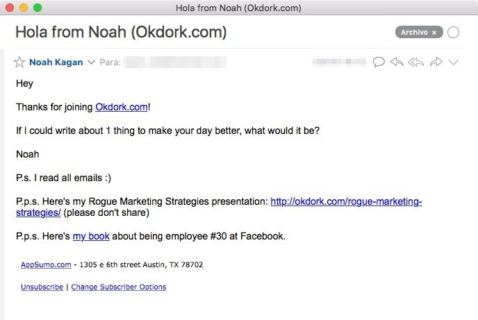 Email de bienvenida de Noah Kagan
