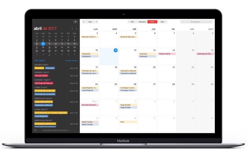 Calendario editorial con Fantastical