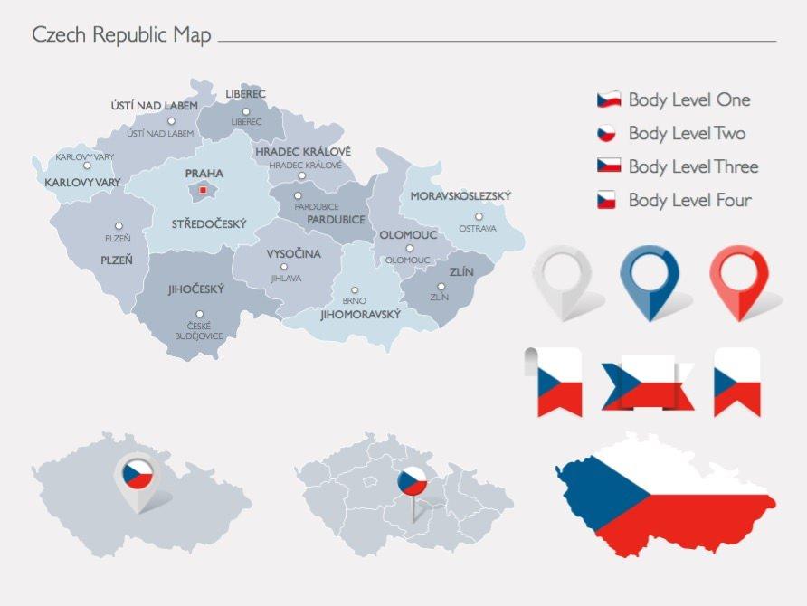Infografía tipo mapa de la República Checa