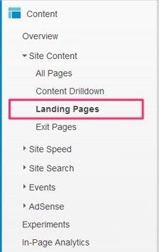 Landing Page en Google Analytics