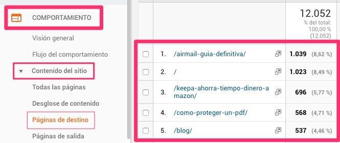 Páginas de destino en Google Analytics