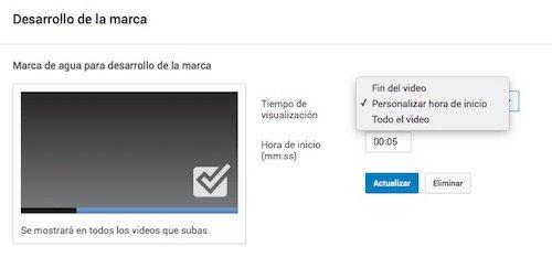 Cuándo mostrar la marca de agua de tus vídeos de Youtube
