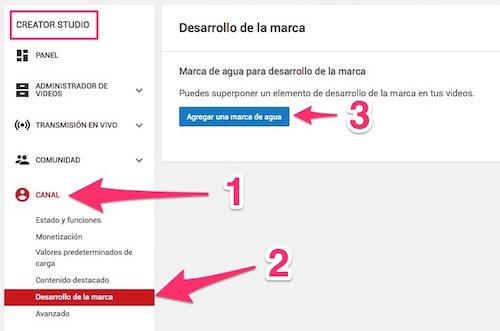 Dónde agregar una marca de agua en las preferencias de Youtube