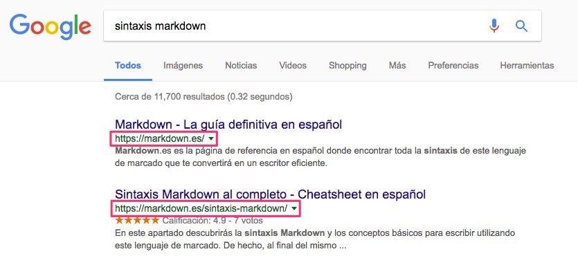 Markdown.es posicionada en el puesto 1 de Google