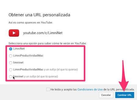 Nombres de canal personalizados de Youtube predefinidos