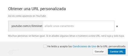 URL personalizada con un sufijo en el canal de Youtube