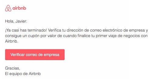 Correo de verificación de email de empresa en AirBnB