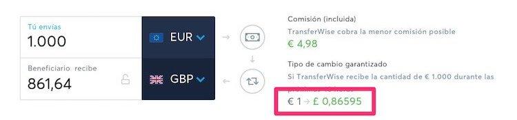 Tasa de cambio de Transfer Wise