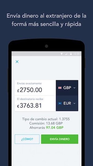 TransferWise en un smartphone