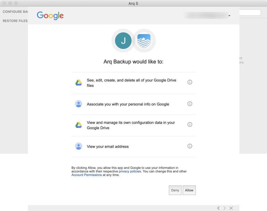 Configuracion Arq Backup