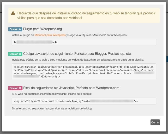 Conectar Web Blog a Metricool
