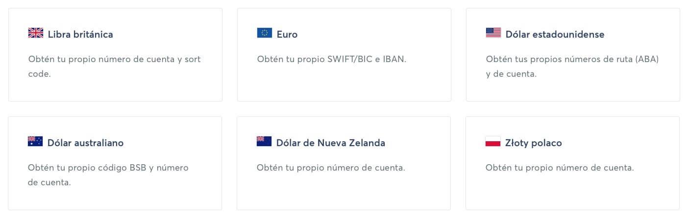 Monedas con Datos bancarios disponibles en TransferWise