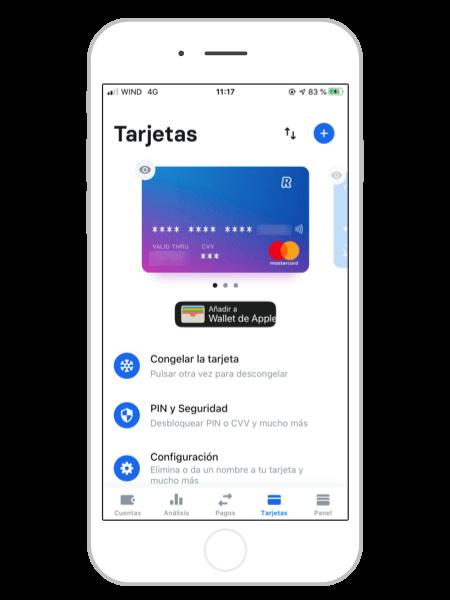 Gestion de tarjetas Revolut App