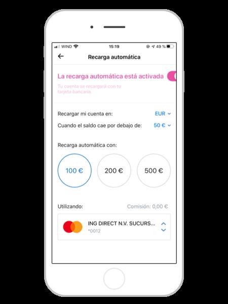 Recarga automatica de dinero en Revolut