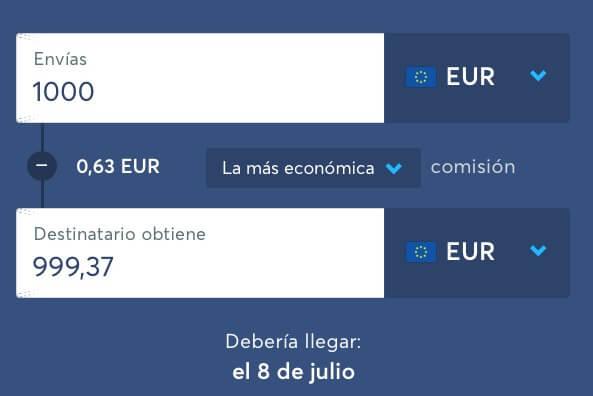 Transferencias de dinero dentro del mismo pais con la misma moneda en TransferWise