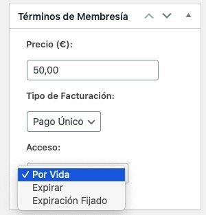 Crear un pago único en Memberpress