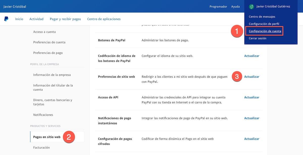 Preferencias sitio web Paypal