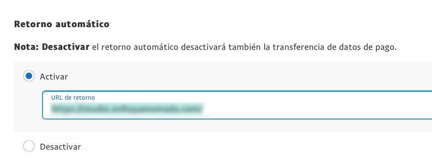 Retorno automatico PayPal