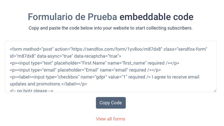 Codigo formularios sendfox