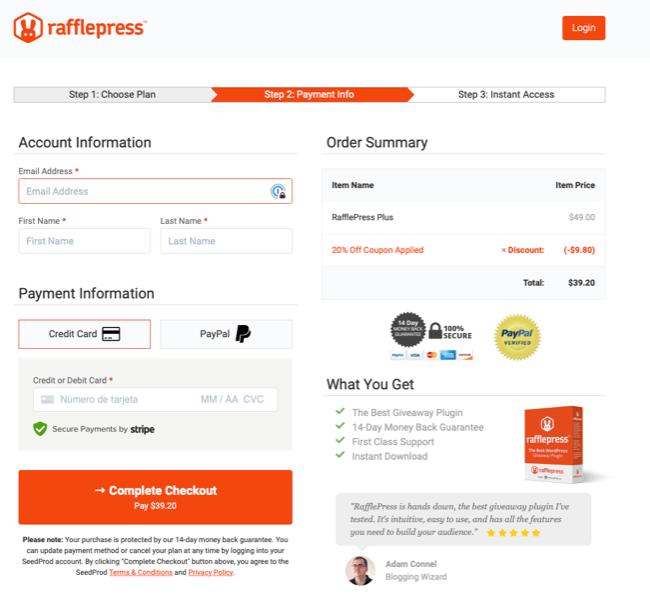 Comprar RafflePress Checkout