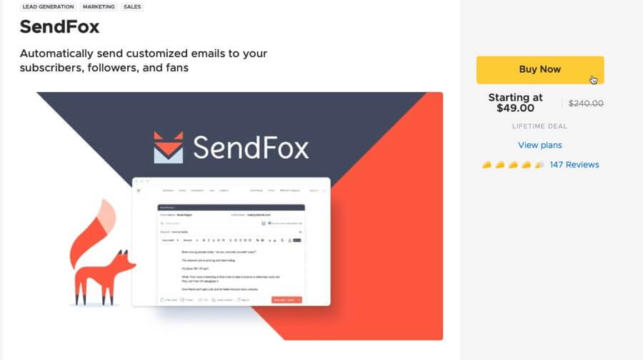 Comprar SendFox en AppSumo