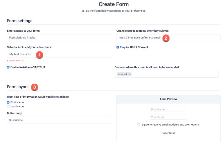 Crear formulario suscripcion sendfox